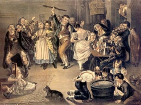 Daniel Maclise, Snap-Apple Night (Festa di Halloween in Blarney Co. Cork) 1832 litografia colorata a mano